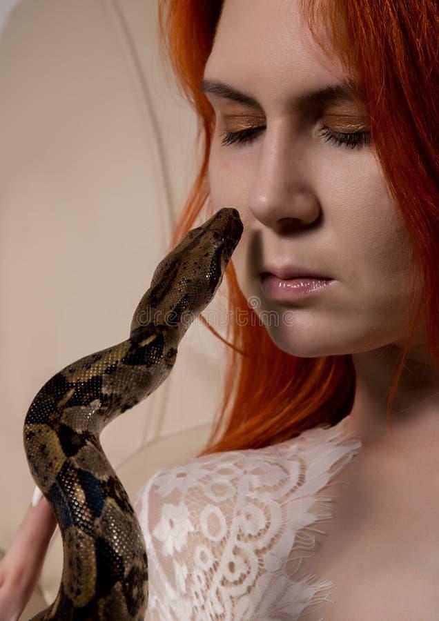 Sexig orm för rödhårig mankvinnainnehav närbildfotoflicka med pygmépytonormen på en vit bakgrund royaltyfri fotografi