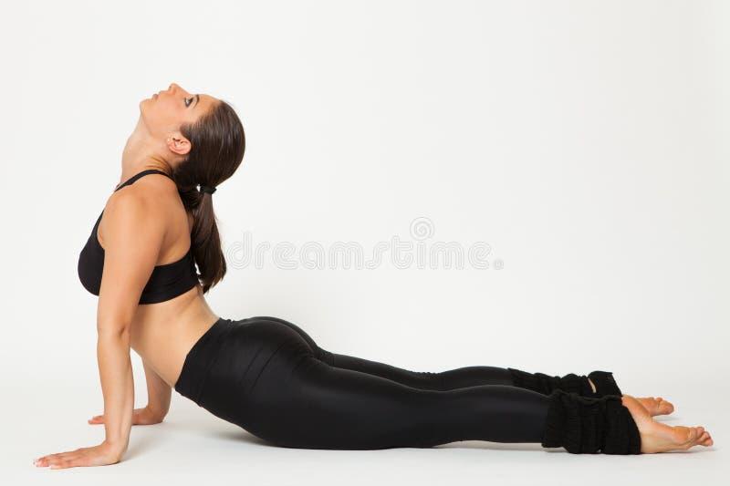 Sexig passformbrunettkvinna i sportswear arkivbild