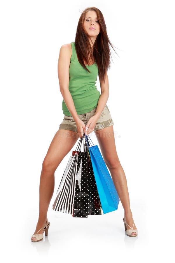 sexig shopping för flicka arkivfoto
