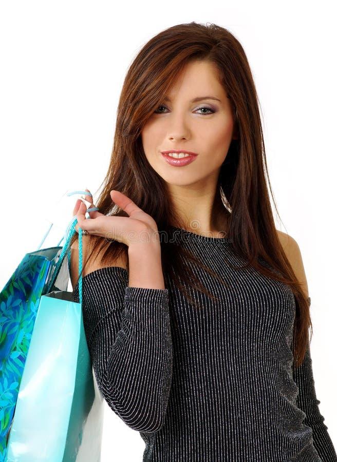 sexig shoppingkvinna royaltyfri bild