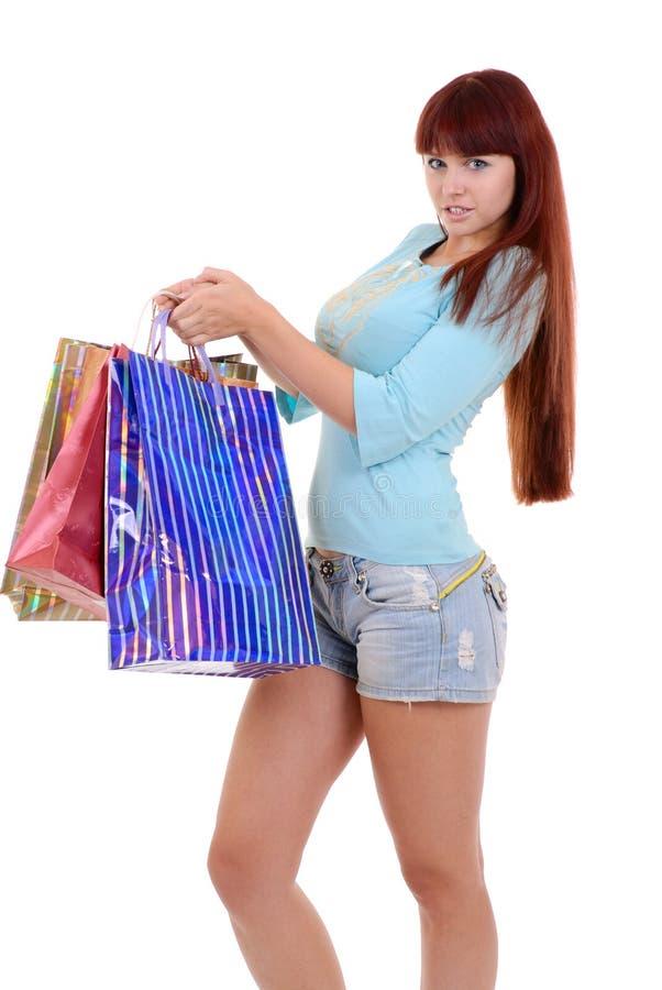sexig shoppingkvinna arkivbild