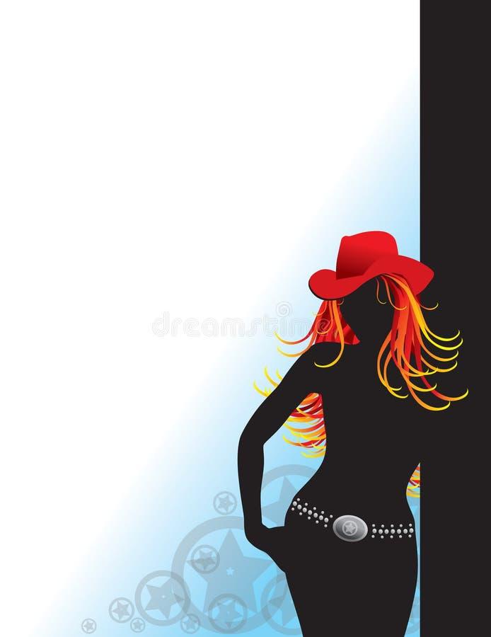sexig silhouette för cowgirl royaltyfri illustrationer