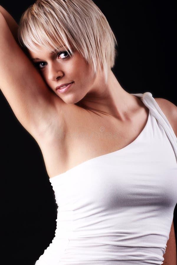 Sexig sinnlig blond kvinna royaltyfri foto
