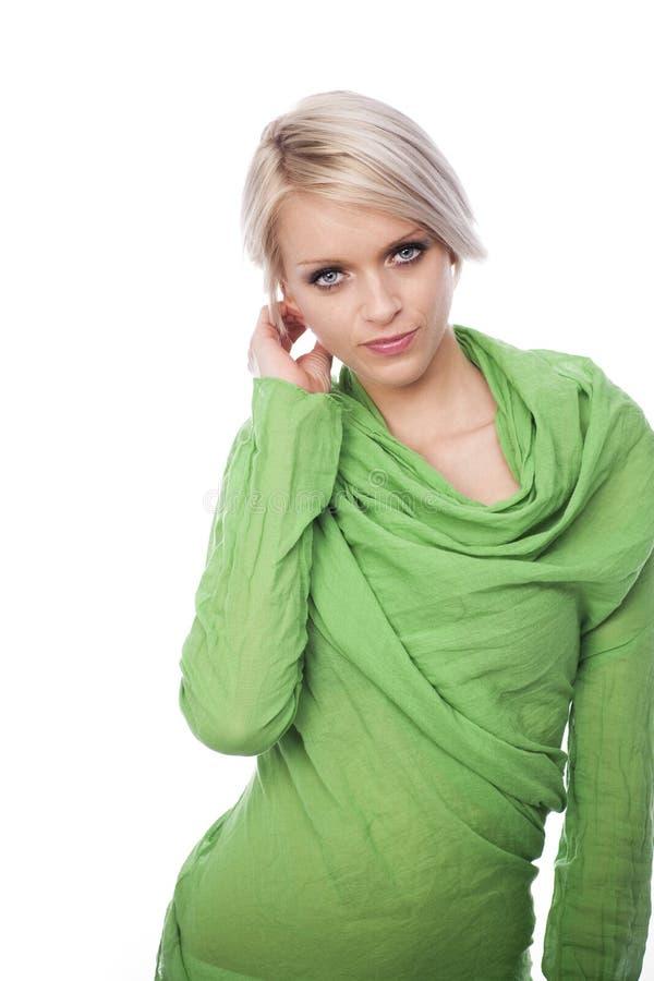 Sexig spenslig blond kvinna arkivfoto