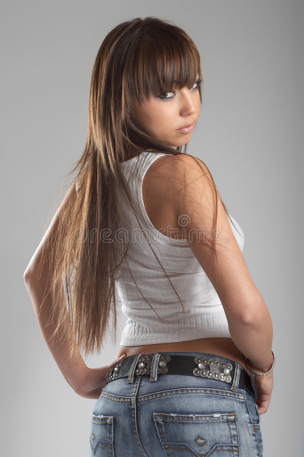 sexig studiokvinna royaltyfri fotografi