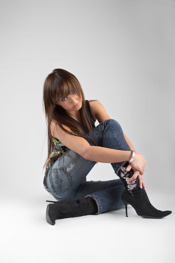 sexig studiokvinna arkivfoto