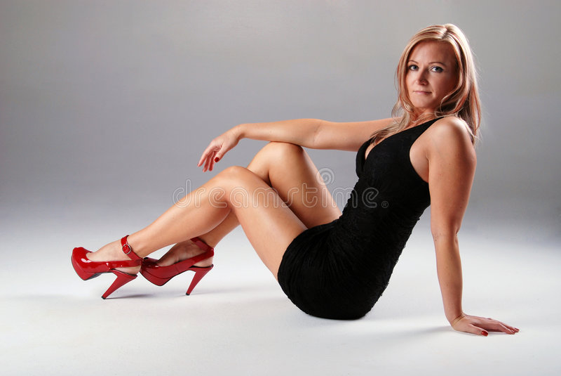 sexig svart klänning royaltyfri fotografi