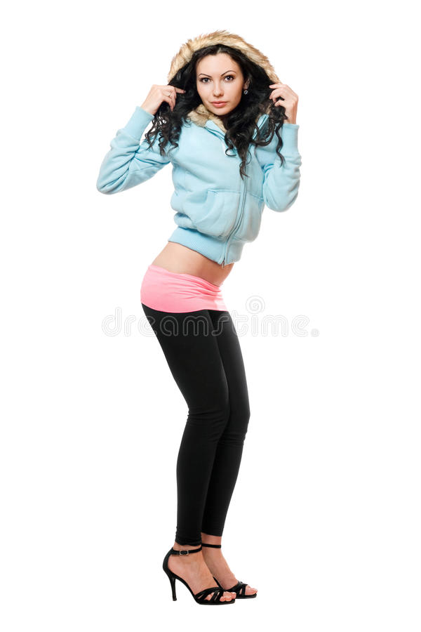 Sexig ung brunett i svart damasker. Isolerat royaltyfria bilder