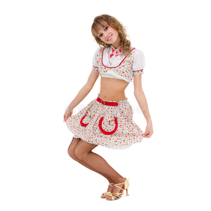 Sexig ung kvinna i lite klänningen som isoleras på vit royaltyfri foto