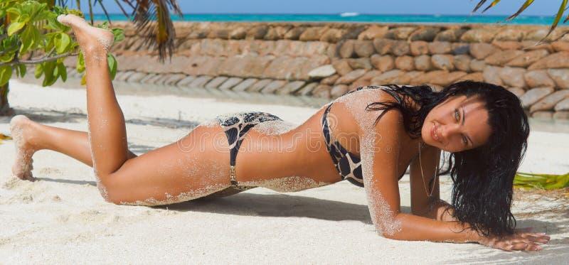 Sexig välformad lady som suntanning royaltyfria bilder