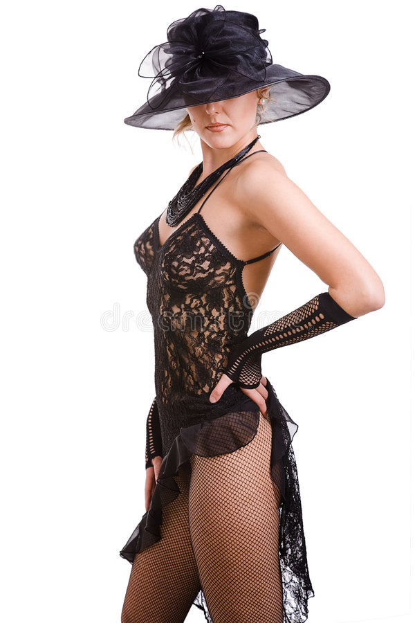 sexiga kvinnor för svart hatt royaltyfri foto