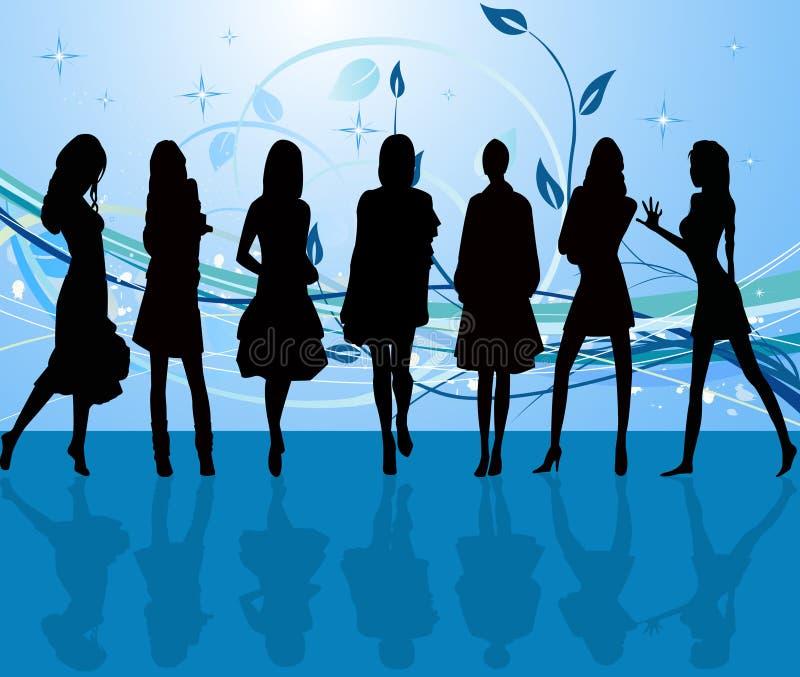 Download Sexiga silhouetteskvinnor vektor illustrationer. Illustration av smutsigt - 3525958
