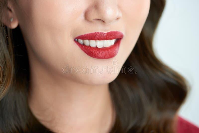 Sexiga sinnliga röda kanter med munnen öppnar H?rlig kantmakeup Slut upp r?da kanter av den asiatiska flickan royaltyfri bild