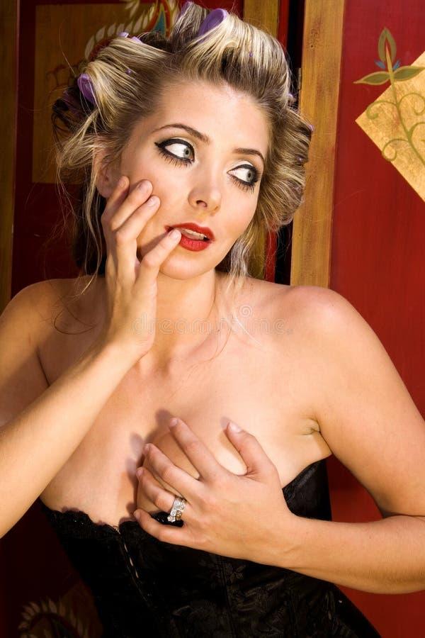 sexigt övre för flickastift royaltyfria foton