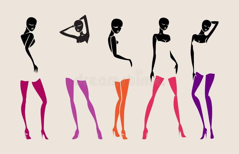 Sexigt huvud för händer för flickauppsättningstrumpor stock illustrationer