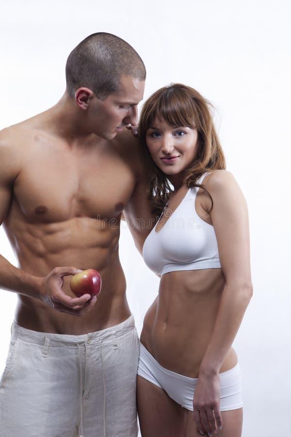 sexigt vitt barn för äpplepar arkivbild