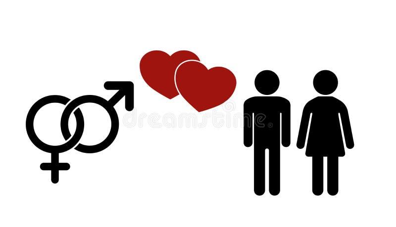 Sexikone Geschlechtszeichen Männliche und weibliche Symbole Mann- und Frauenikone stock abbildung