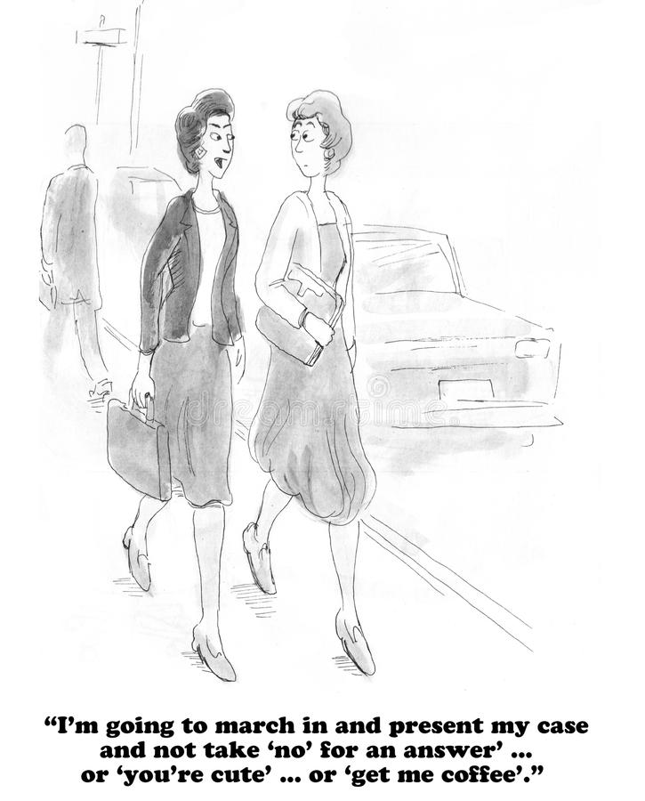 Sexism. Business cartoon about a strong woman determined to be treated fairly by the boss vector illustration
