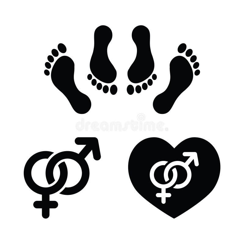 Sexo dos pares, fazendo os ícones do amor ajustados ilustração do vetor
