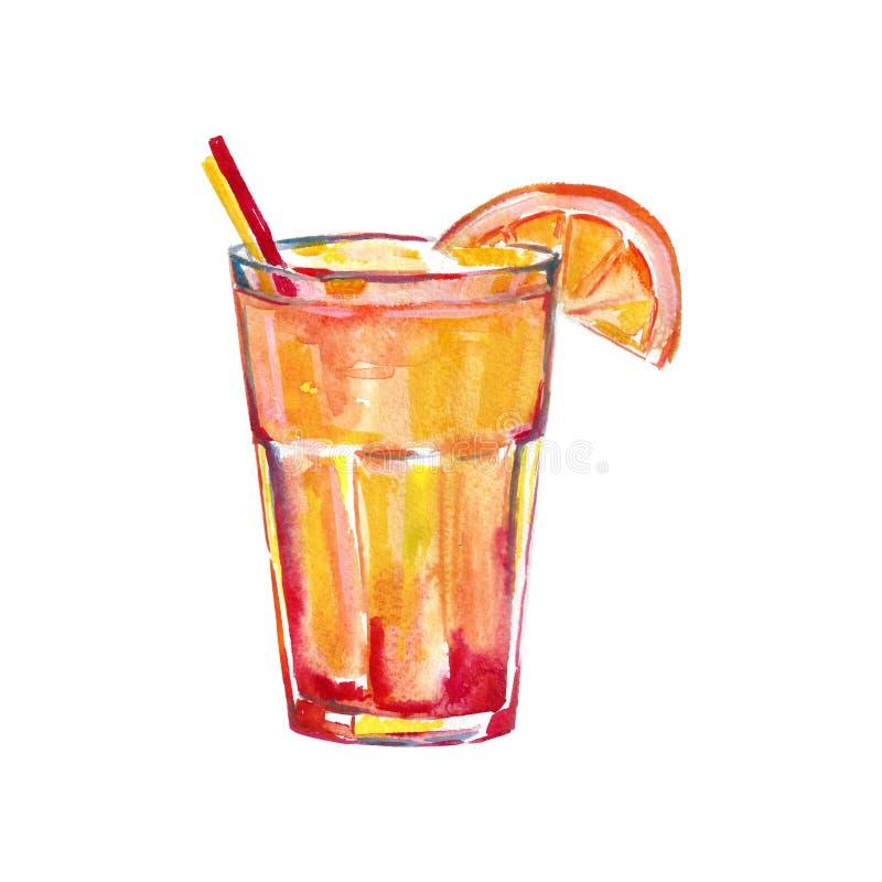 Sexo en el ejemplo de la acuarela de la playa, imagen del cóctel para el menú en la barra stock de ilustración