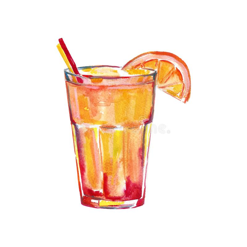 Sexo na ilustração da aquarela da praia, imagem do cocktail para o menu na barra ilustração stock