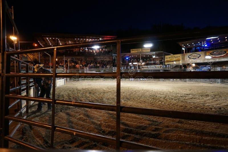 Sexta-feira à noite Live Bull Riding no búfalo Chip Saloon imagens de stock royalty free