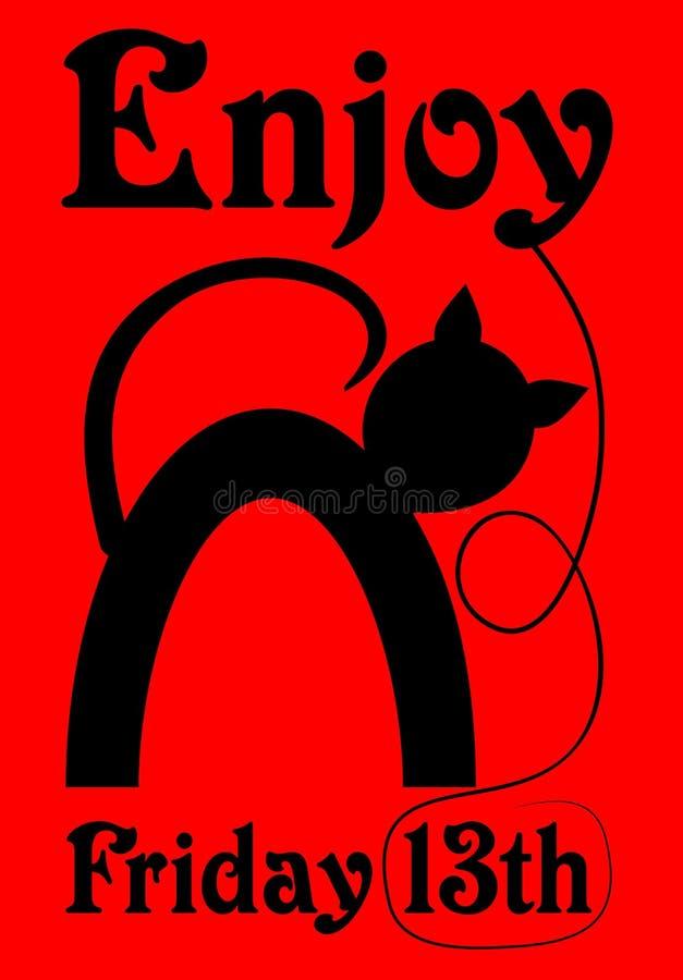 Sexta-feira 13, bandeira vermelha com desenhos animados da silhueta do gato preto ilustração royalty free