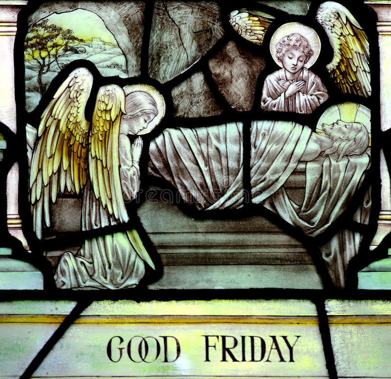 Sexta-feira Santa no vitral (Jesus Christ crucificou) foto de stock royalty free