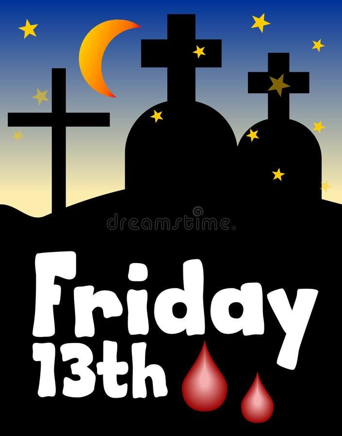 Sexta-feira 13, 13 sexta-feira, dia azarado, silhueta do cemitério da noite Lua sobre o cemitério Número azarado treze Dia azarad ilustração do vetor