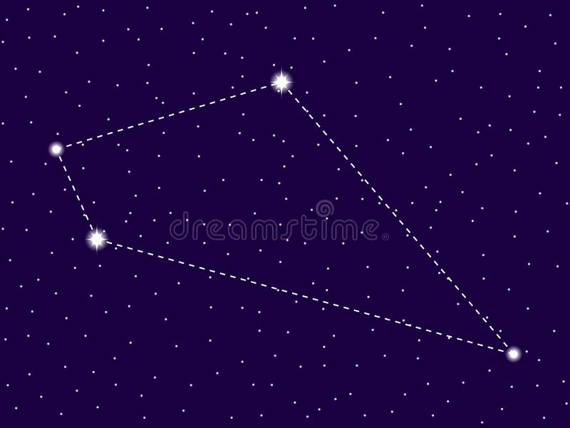 Sextans constellation. Starry night sky. Zodiac sign. Cluster of stars and galaxies. Deep space. Vector. Illustration vector illustration