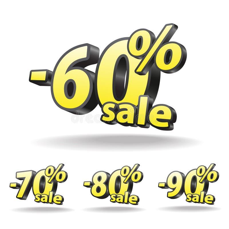Sextio sjuttio, åttio, nittio procentrabattsymbol på vit bakgrund isolerat Svart och guling försäljning vektor illustrationer