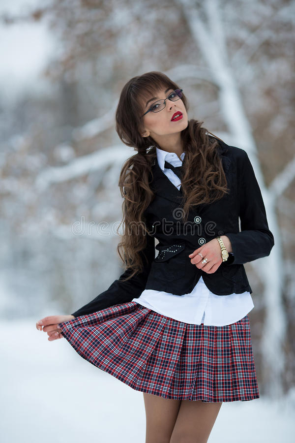 Free Sexual, Beautiful, Attractive, Seductive Student, School Girl Held Checkered Skirt. Royalty Free Stock Images - 65599609
