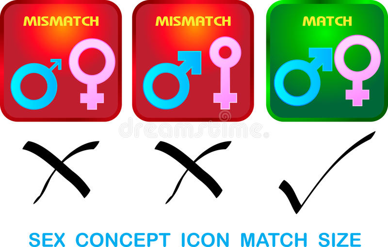 Sexual concept icon match size stock illustration