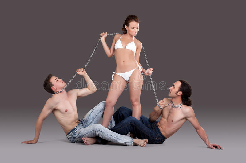 Download Sexual Games Of Two Men And Woman Stock Image - Image: 25485875