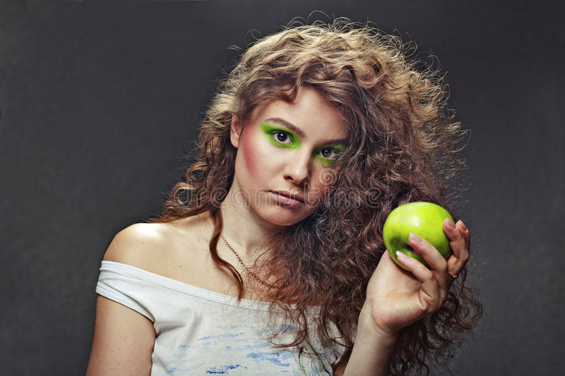 Sexual girl with green makeup royalty free stock photography