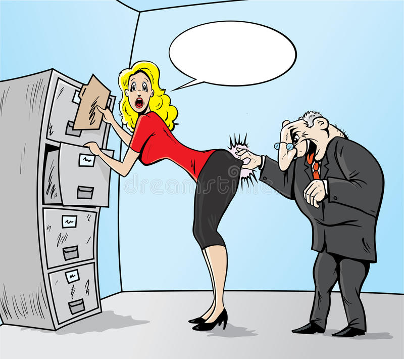 Sexual Harassment. Cute cartoon depicting sexual harassment stock illustration