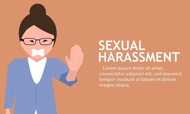 Sexual harassment poster with girl. Sexual harassment poster with sad young girl with tape on mouth. World social gender problem, womens right and sex vector illustration