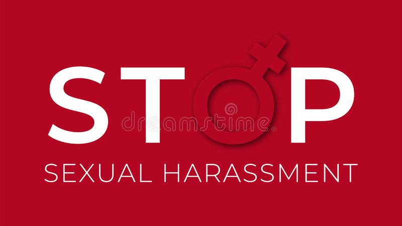 Sexual harassment stop illustration . Against sexual violence banner vector illustration
