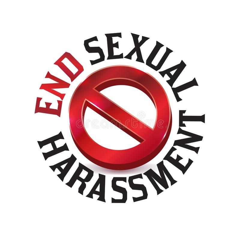 Sexual Harassment Warning Sign Symbol Illustration. A red sexual harassment warning sign symbol illustration icon. Vector EPS 10 available royalty free illustration