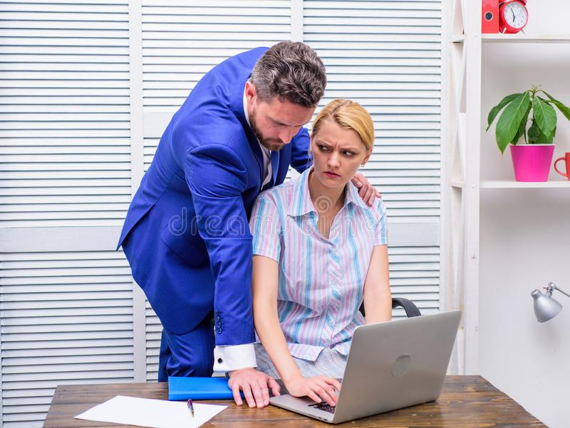 Sexual harassment in workplace. Workforce sexual harassment. Mad at colleague. royalty free stock photos