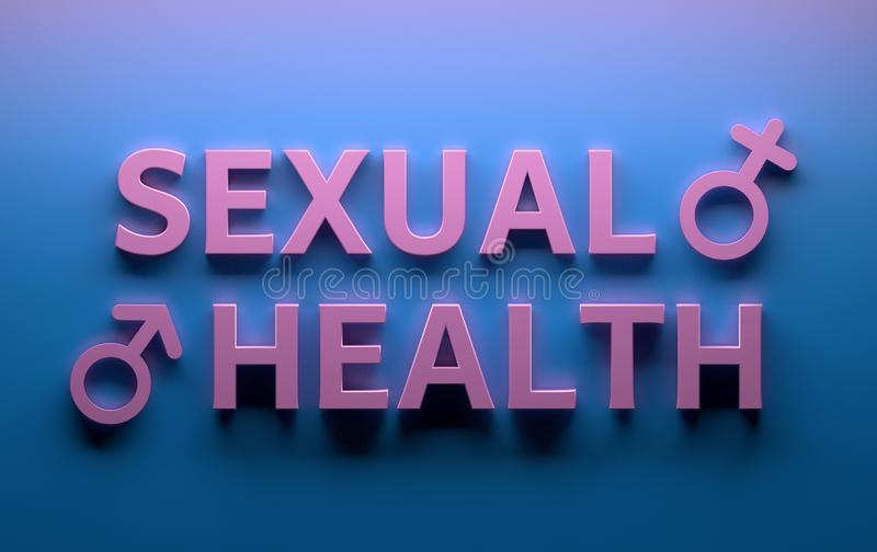 Sexual Health words with male sex gender signs on blue background. Words Sexual Health with male female sex gender signs written in pink bold letters on blue vector illustration