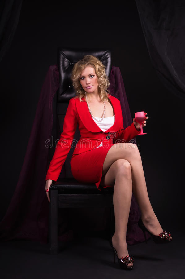 Download Sexual  Lady In Red With Wine Glass In A Hand Stock Image - Image: 20107477