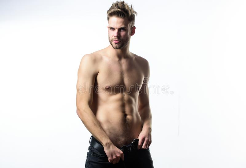 Sexual performance. Feeling so hot. Seductive macho feeling sexy. Attractive body. Confident in his attractiveness stock photo