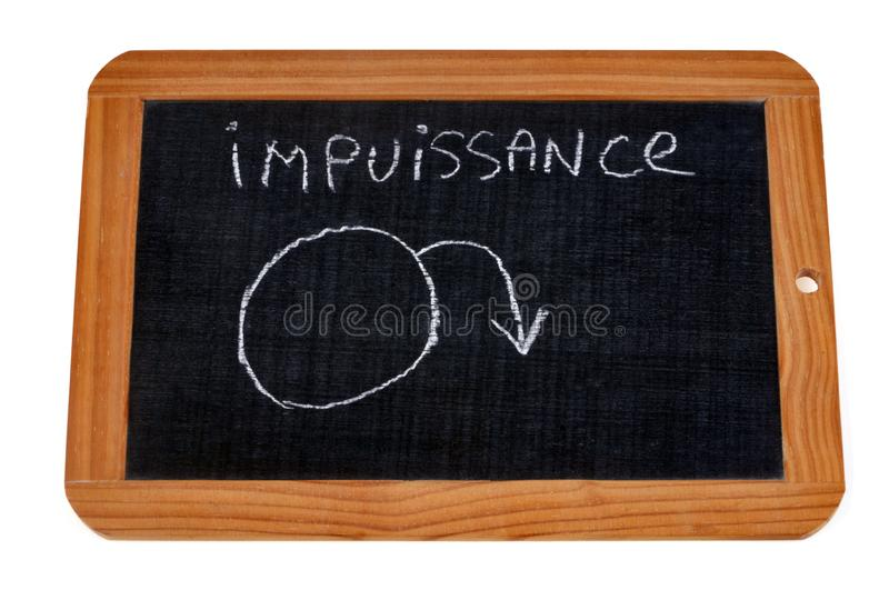 Impotence written in French on a school slate. Sexual problem concept with a school slate royalty free stock photos