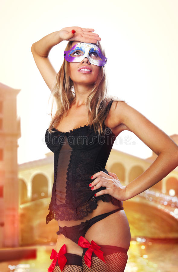 Sexual Venetian In Carnival Dress Royalty Free Stock Images