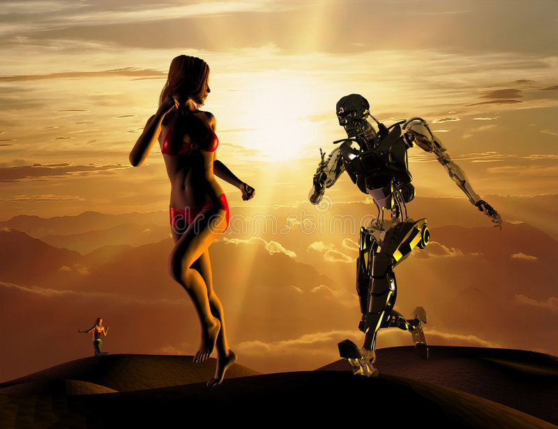 The sexual woman with cyborg vector illustration