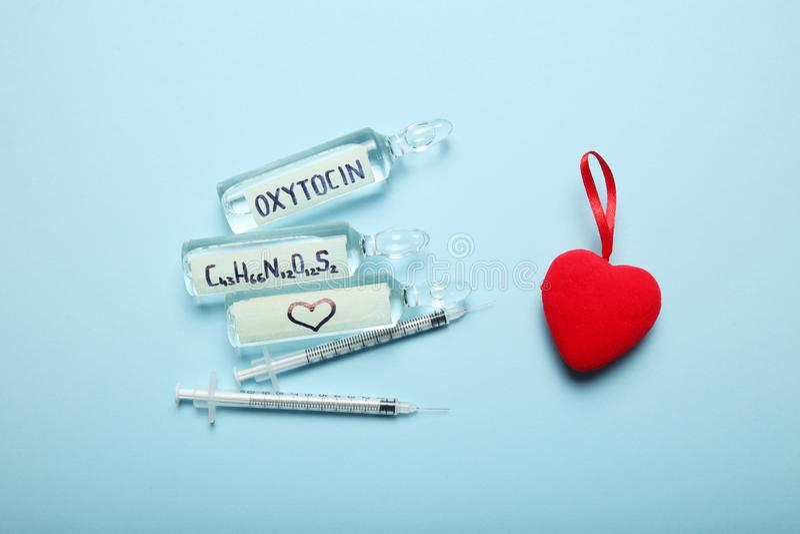 Sexualidad y amor, hormona de la oxitocina en cuerpo Concepto EMBARAZADO imágenes de archivo libres de regalías