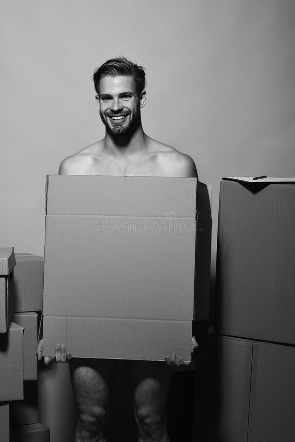 Sexualidad y concepto móvil El machista con la cara sonriente cubre desnudez Hombre con la barba imagenes de archivo