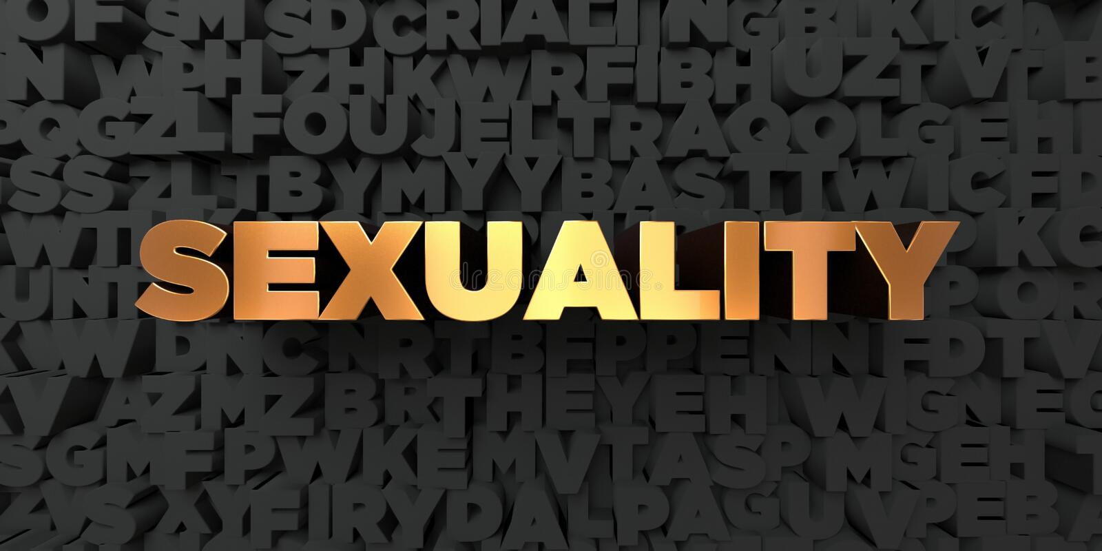 Sexuality - Gold text on black background - 3D rendered royalty free stock picture stock illustration