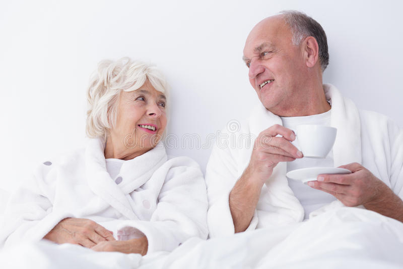Sexuality in older age. Horizontal view of sexuality in older age stock photo